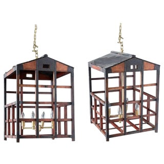 Japanese Tansu Style Wooden Crate Cage Chandeliers For Sale
