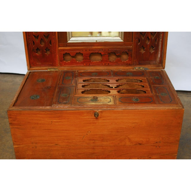 British Colonial Teak Travel Trunk/Chest - Image 7 of 9