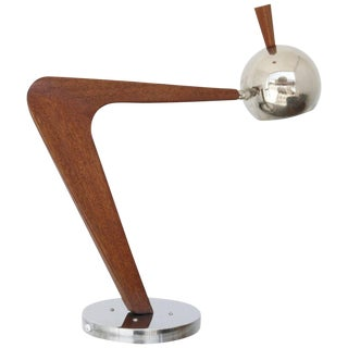 Vintage Chrome and Walnut Desk Lamp For Sale