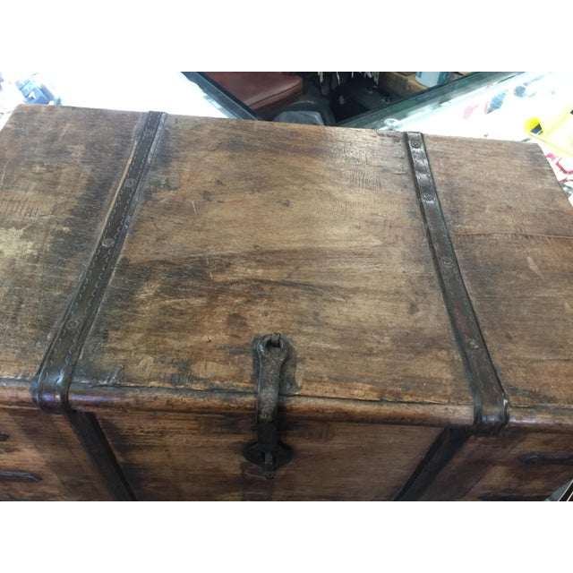 Iron Antique Strong Box With Iron Straps For Sale - Image 7 of 8