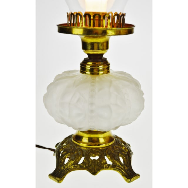 Early 20th Century Vintage Electrified Frosted Glass Oil Lamp For Sale - Image 5 of 13