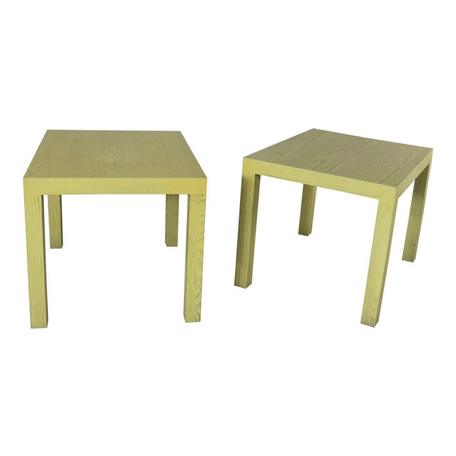Mid Century Modern Blonde Cerused Oak Parsons End Tables Style Wormley for Dunbar For Sale