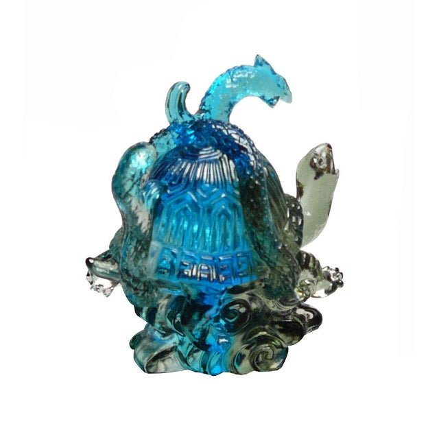 Asian Chinese Liuli Crystal Glass Pate-de-verre Turtle Celestial Animals Figure For Sale - Image 3 of 5