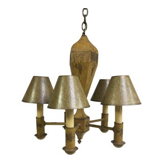 French Toleware 5 Arm Chandelier For Sale