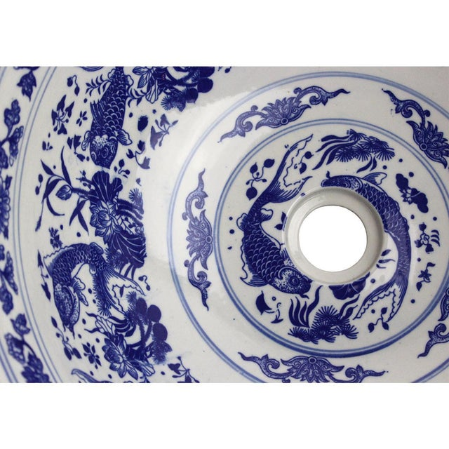 Pasargad DC Modern White and Blue Motif Sink Bowl For Sale In Washington DC - Image 6 of 8