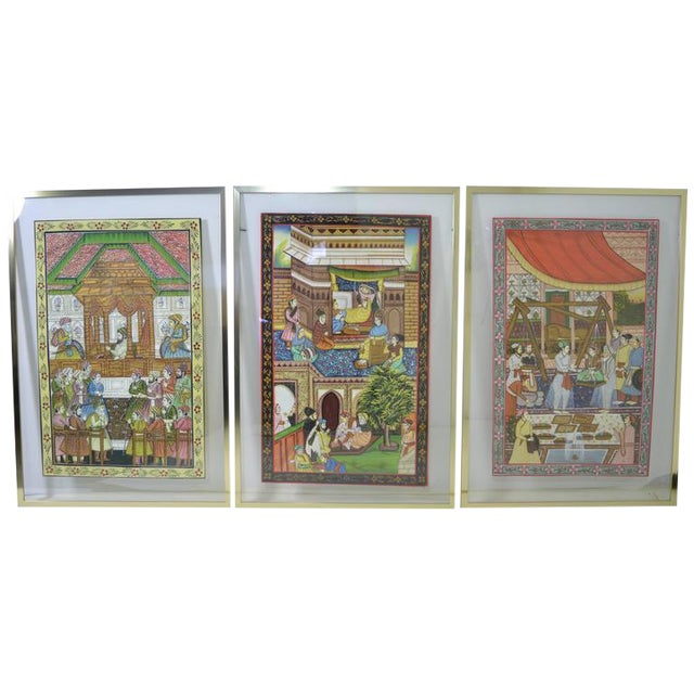 Persian Watercolors in Floating Frames - Set of 3 - Image 1 of 9