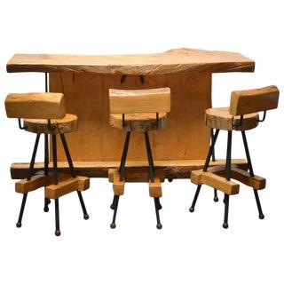 Sabino Burl Wood Bar and Stool Set For Sale