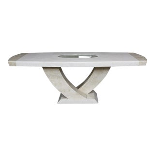 "1990s Postmodern ""Italia"" White and Beige Fossil Stone Dining Table For Sale"