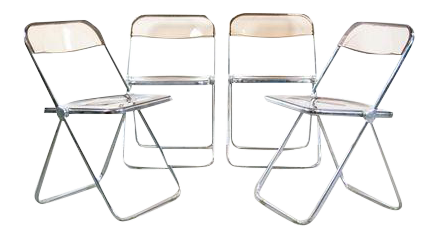 Giancarlo Piretti Lucite Folding Chairs   Set Of 4