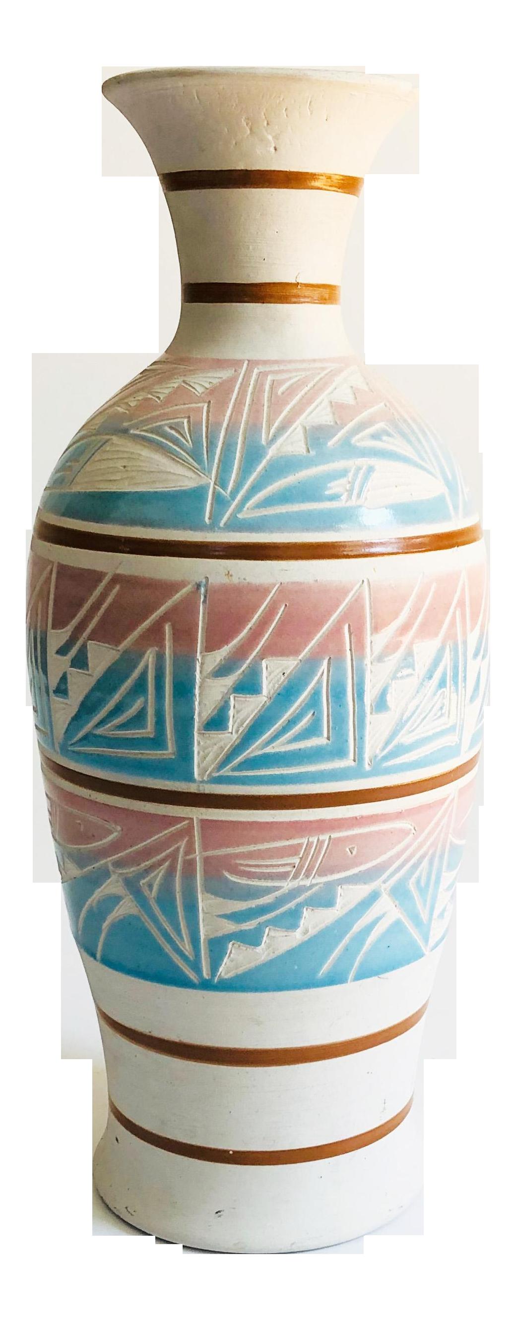 Tall Carved Blue Vase