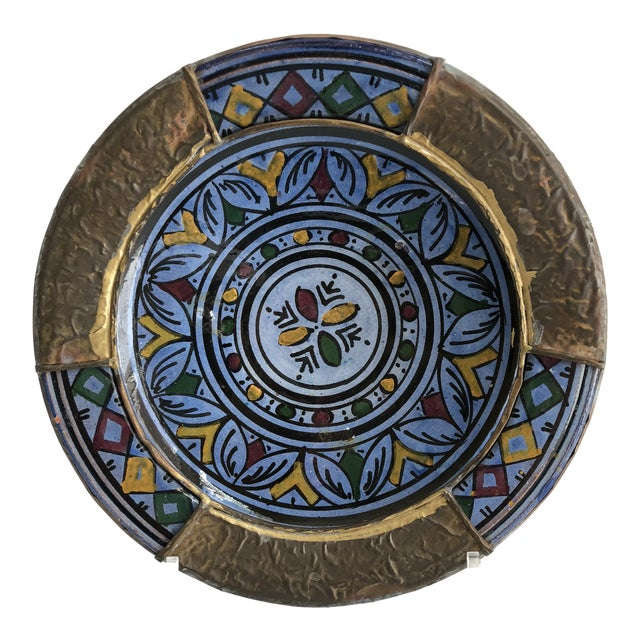 1970s Vintage Indigo Blue & Brass Hand Painted Moroccan Boho Chic Wall Plate For Sale