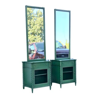 1930's Vintage Green Painted Pier Mirror and End Table Night Stands -a Pair For Sale
