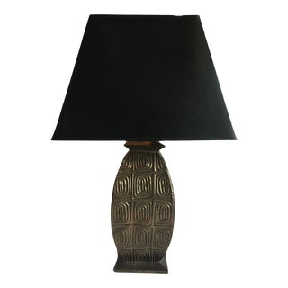 1990s Brass Table Lamp With Foil Lined Black Shade For Sale