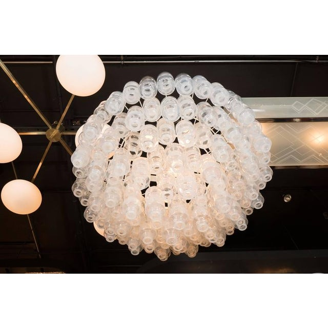 Modernist Opalescent and Clear Murano Glass Barbell Chandelier For Sale - Image 9 of 10