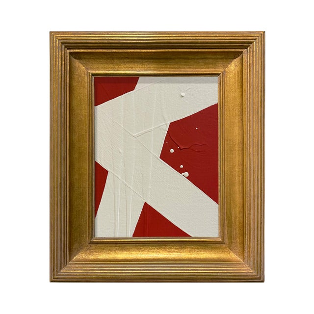 Ron Giusti Mini Abstract Red Cream Acrylic Painting, Framed For Sale - Image 4 of 4