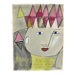 Original Contemporary Abstracted Face Mixed Media Painting by Michael Sanchez For Sale
