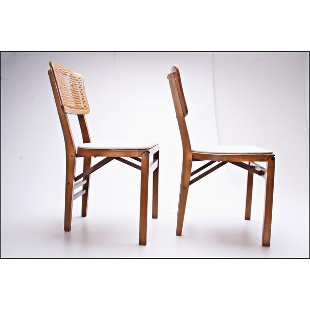 Boho Chic Mid Century Modern Stakmore White Vinyl Wood Folding Chairs - A Pair For Sale - Image 3 of 11