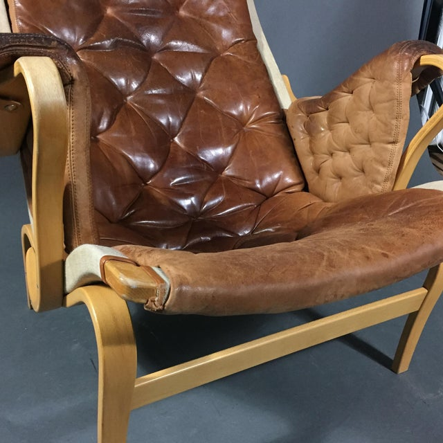 "Bruno Mathsson ""Pernilla"" Lounge Chair + Ottoman, Sweden For Sale - Image 9 of 13"