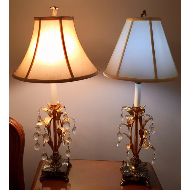 Hollywood Regency Italian Hollywood Regency Gilt Tole, Marble & Crystal Table Lamps For Sale - Image 3 of 10