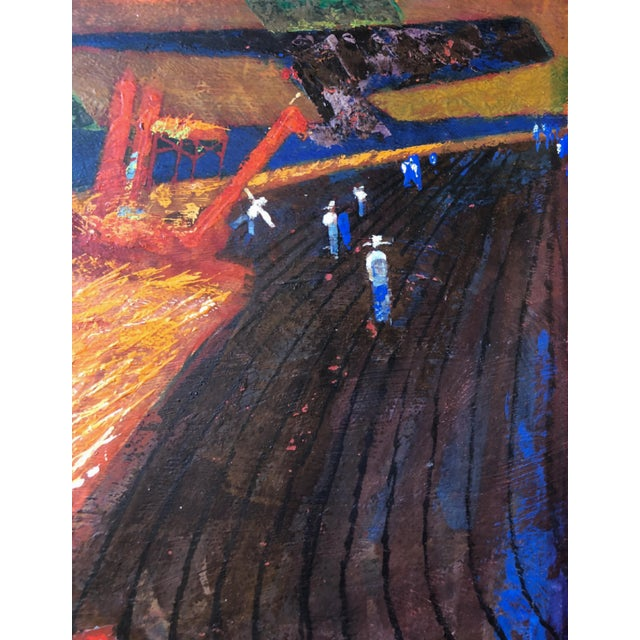 "Unsigned Farm Working 1960's Acrylic on Board 12"" x 27.5"" Excellent Condition - Minor wear consistent with age and history"