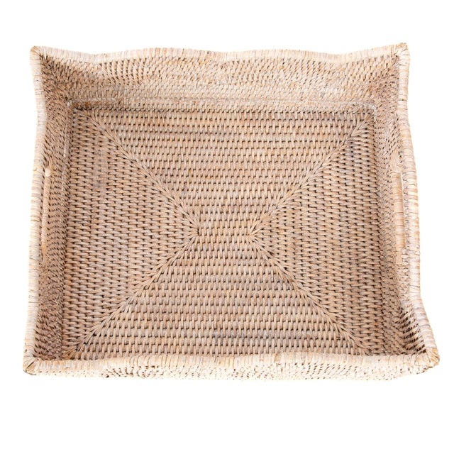 2010s Artifacts Rattan Scallop Collection Rectangular Basket For Sale - Image 5 of 6