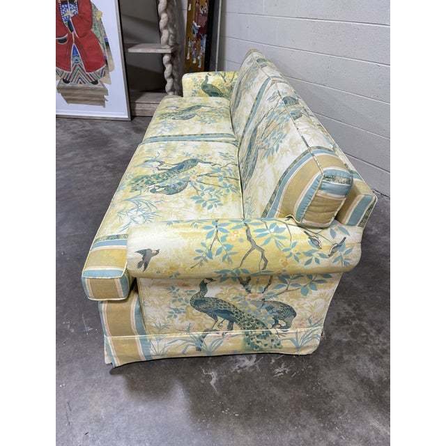 Chinoiserie Vintage Henredon Schoonbeck Peacock Chinoiserie Sofa For Sale - Image 3 of 13