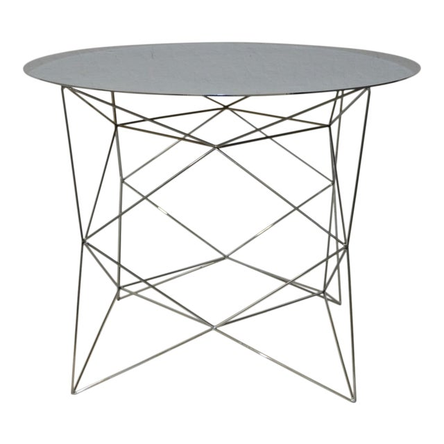 Geometric Chrome Side Table By West Elm Chairish - West elm geometric coffee table
