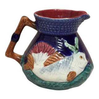 1930s English Majolica Pitcher With Fish For Sale