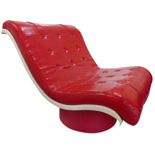 Morris Futorian Mid-Century Modern Space Age Red Vinyl and Plastic Lounge Chair For Sale