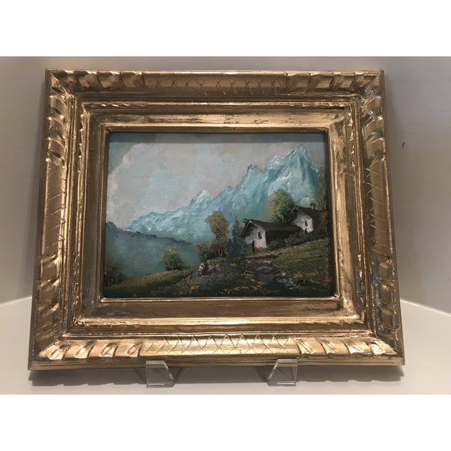 Vintage Mid-Century M. Rosselli Framed Oil on Canvas Landscape Painting For Sale - Image 11 of 11