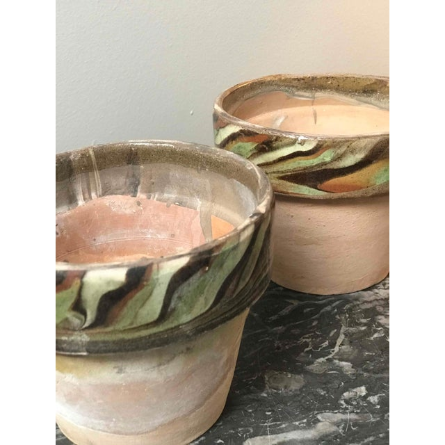 1960s Set of Four Decorated and Glazed Rim Pots From 1960s England For Sale - Image 5 of 6