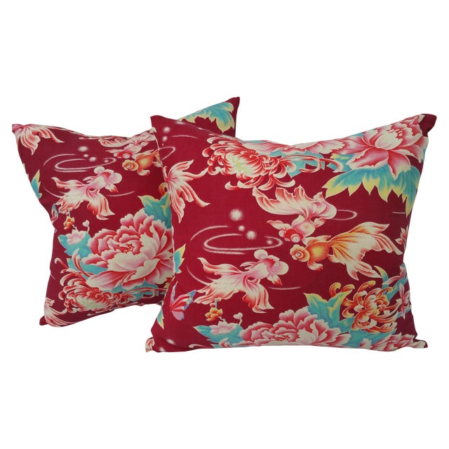 Chinese Goldfish and Flowers Pillow - Pair For Sale