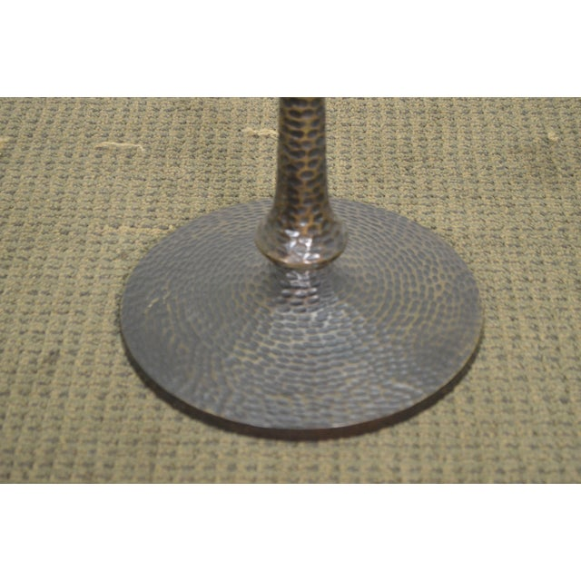 Metal Hammered Brass Round Glass Top Pedestal Side Table For Sale - Image 7 of 10
