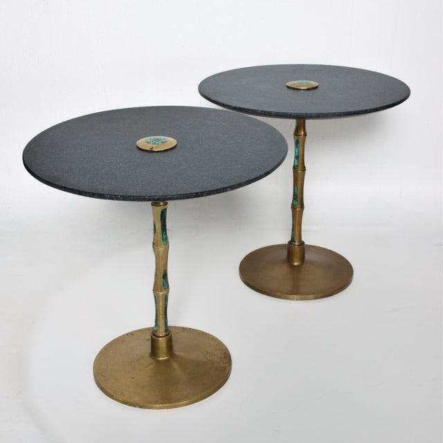 1950s Pepe Mendoza Mid-Century Mexican Modernist Bronze Malachite Black Side Tables - a Pair For Sale - Image 5 of 11