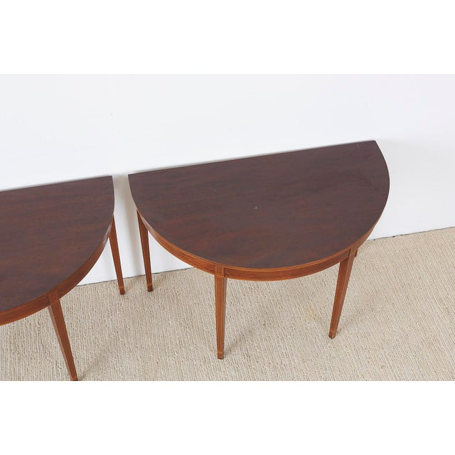 American Hepplewhite Style Demilune Console Tables - a Pair For Sale In San Francisco - Image 6 of 13