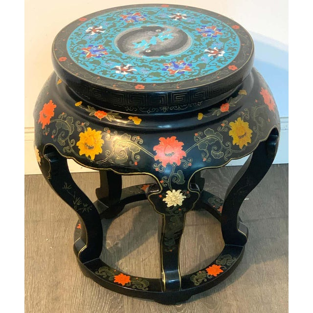 Chinese Export Black Lacquer and Cloisonné Koi Motif Table For Sale - Image 11 of 13