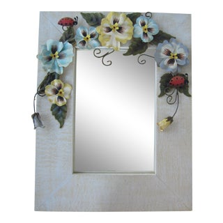 Wall Mirror With Tole Flower and Lady Bug Accents