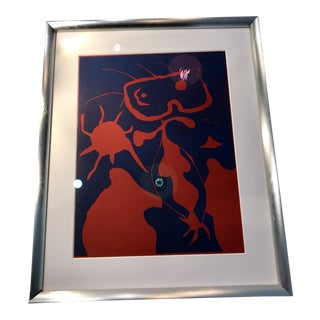Joan Miro Original 1938 Print, Only 1500 Were Made. XXe Siècle 4 Noël Lazzaro 1st Ed. Signed Linocut. Mid Century Modern, Early 20th C. Abstract Art For Sale