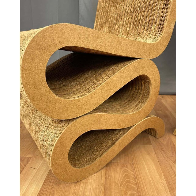 Frank Gehry Pair of Early Frank Gehry Easy Edges Wiggle Side Chairs, 1972 For Sale - Image 4 of 13