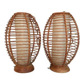Vintage Mid Century Modern Rattan Lamps or Hanging Lanterns - a Pair For Sale