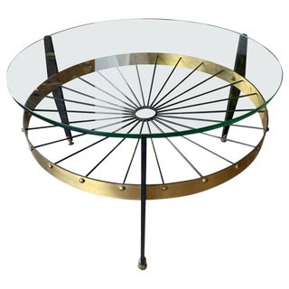 Italian Mid-Century Round Coffee Table in Glass and Brass, 1960s For Sale