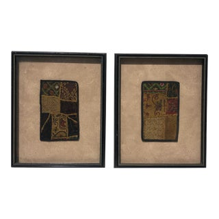 Antique Indian Patchwork Tapestry Pieces- A Pair For Sale