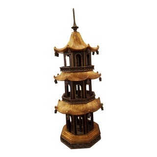 Maitland Smith Three Tier Black Tole and Gold Tabletop Pagoda Temple For Sale