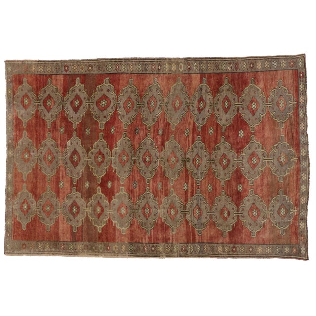 1940s Modern Traditional Vintage Turkish Oushak Rug With Jacobean Style, 07'06 X 11'04 For Sale - Image 5 of 10