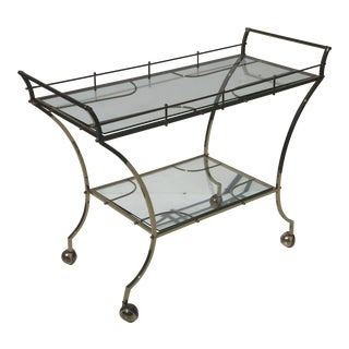 Hollywood Regency Modernist Bar Trolley Cart For Sale