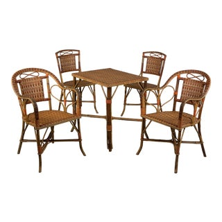 20th Century French Woven Wicker Dining Set - 5 Pieces For Sale