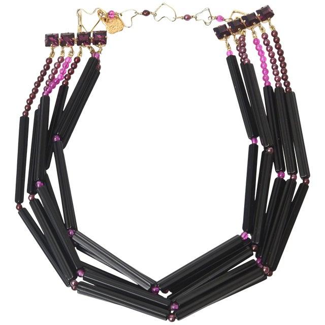 Yves Saint Laurent Rare Black and Purple Glass 6 Strand Necklace Vintage For Sale
