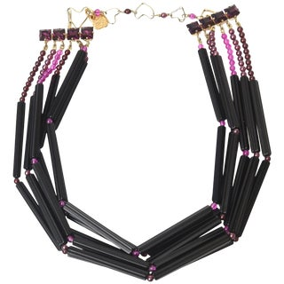 Yves Saint LaurentBlack and Purple Glass 6 Strand Necklace Vintage For Sale