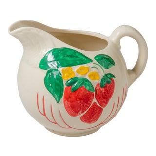 Madcap Cottage White Ceramic Strawberry Pitcher For Sale