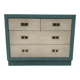 Custom Rattan Wrapped 4 Drawer Dresser For Sale